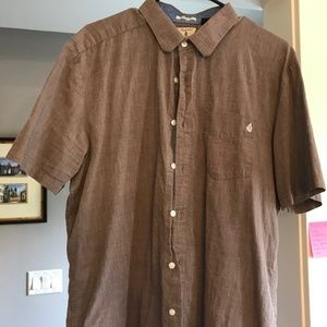 Mens Classic Fit Volcom Casual Button Down  Large